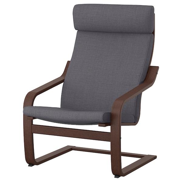 POÄNG Armchair, brown/Skiftebo dark grey