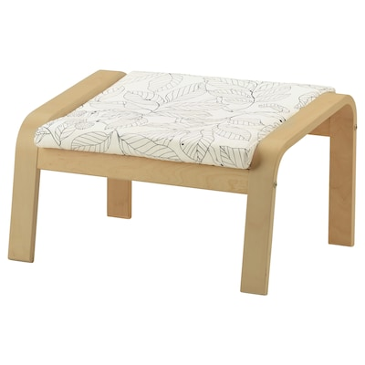 POÄNG Footstool, birch veneer/Vislanda black/white