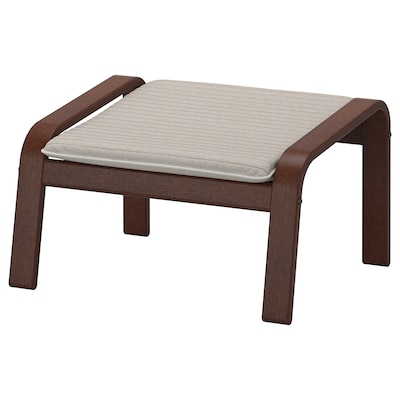 POÄNG Footstool, brown/Knisa light beige