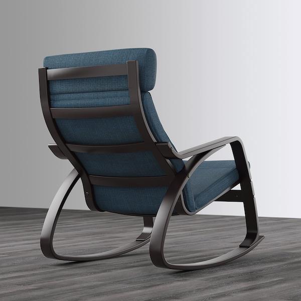 POÄNG كرسي هزّاز, أسود-بني/Hillared أزرق غامق