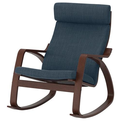 POÄNG rocking-chair brown/Hillared dark blue 68 cm 94 cm 95 cm 56 cm 50 cm 45 cm
