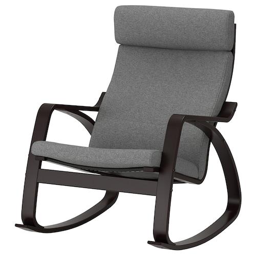 POÄNG rocking-chair black-brown/Lysed grey 68 cm 94 cm 95 cm 56 cm 50 cm 45 cm