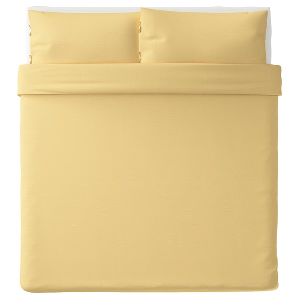 PUDERVIVA Duvet cover and 2 pillowcases, light yellow, 240x220/50x80 cm