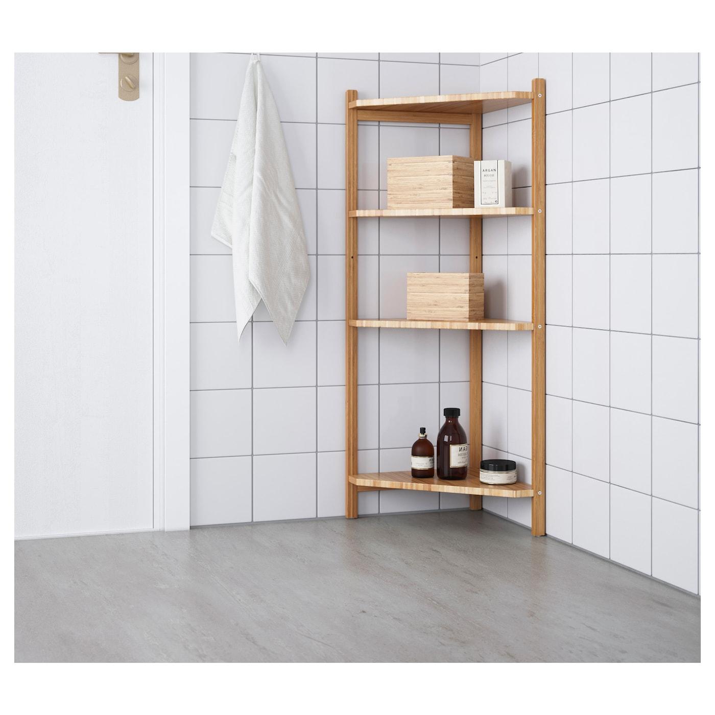 RÅGRUND Corner shelf unit, bamboo, 34x99 cm