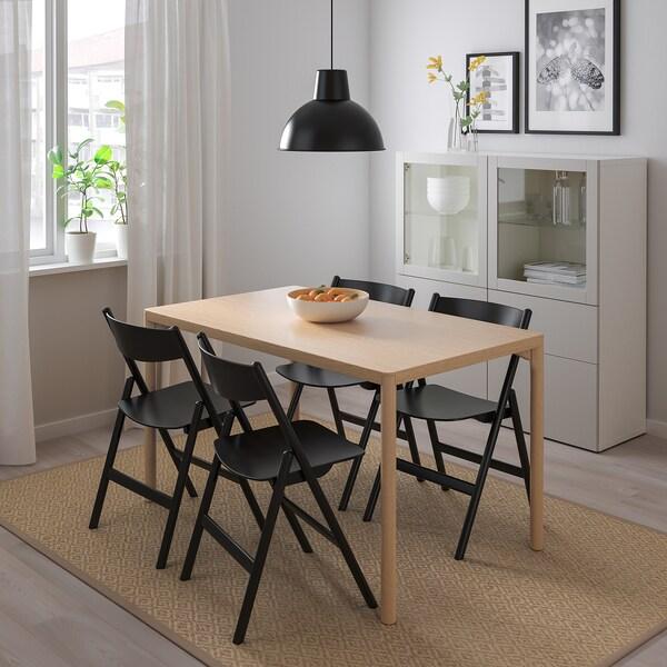 RÅVAROR / RÅVAROR Table and 4 chairs, oak veneer/black, 130x78 cm