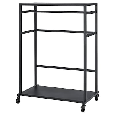 RÅVAROR Storage unit on castors, black, 100x140 cm