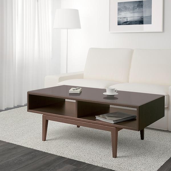 REGISSÖR coffee table brown/glass 118 cm 60 cm 45 cm