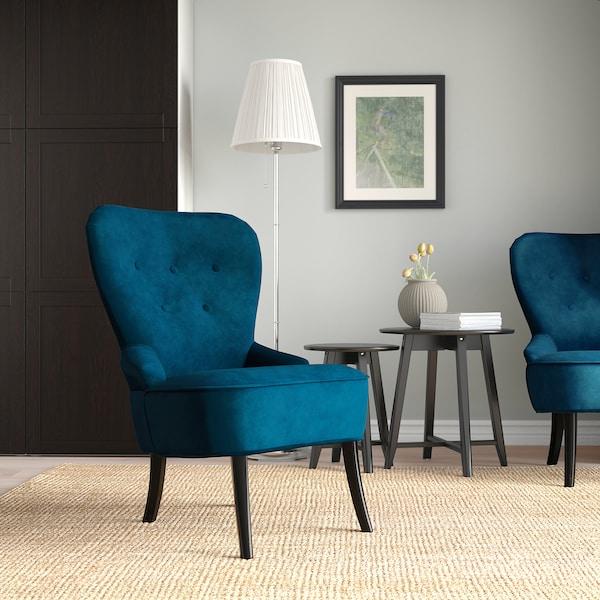 REMSTA كرسي بذراعين, Djuparp اخضر غامق-أزرق