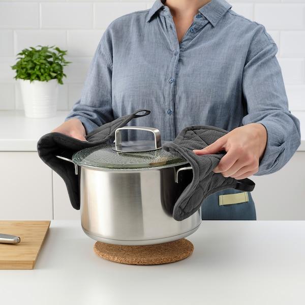 RINNIG Pot holder, grey, 21x21 cm