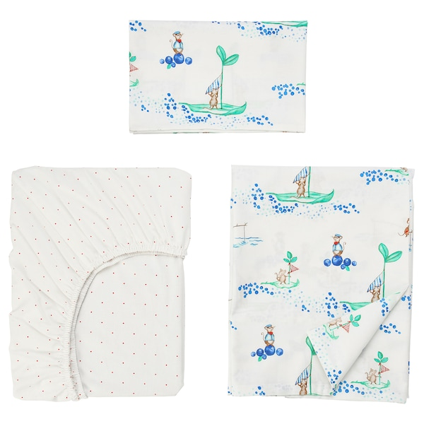 RÖDHAKE 3-piece bedlinen set for cot, sailing mouse, 60x120 cm