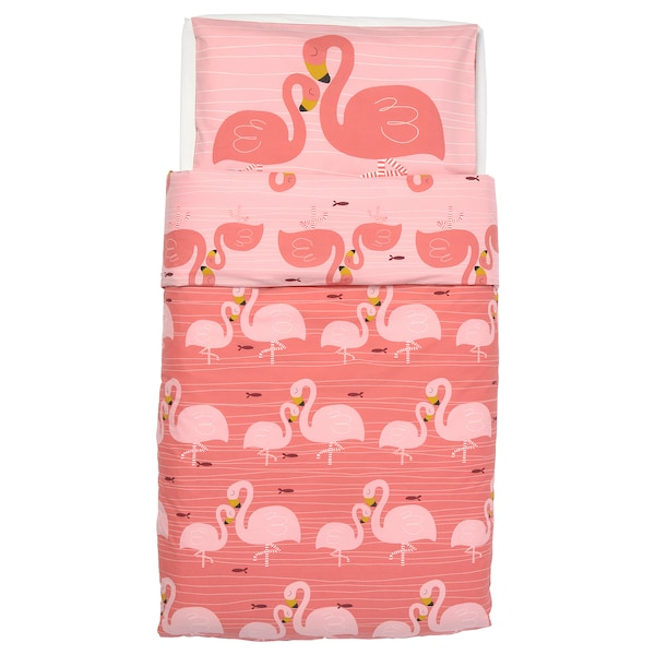 RÖRANDE Quilt cover/pillowcase for cot, flamingo/pink, 110x125/35x55 cm