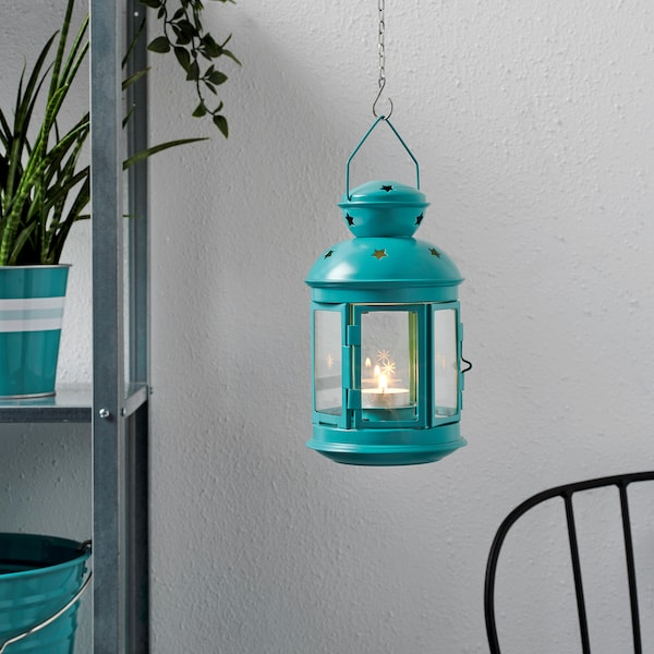 ROTERA lantern for tealight in/outdoor turquoise 21 cm