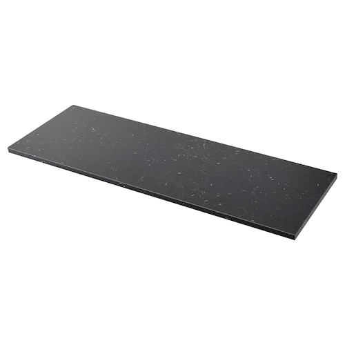 SÄLJAN worktop black marble effect/laminate 246 cm 63.5 cm 3.8 cm