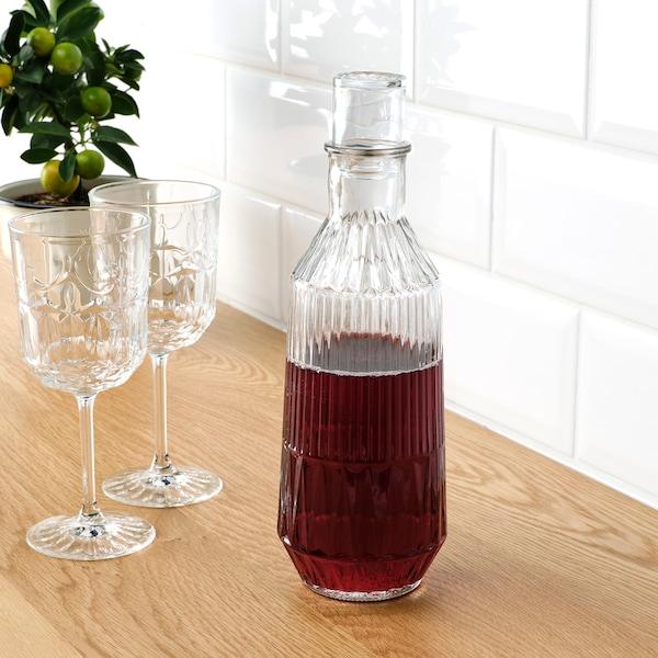 SÄLLSKAPLIG Juice Glass, clear glass/patterned, 27 cl