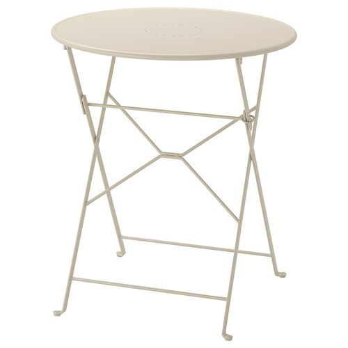 SALTHOLMEN table, outdoor foldable beige 71 cm 65 cm