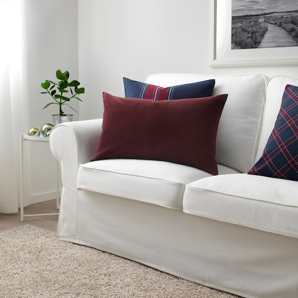 SANELA غطاء وسادة, أحمر غامق, 40x65 سم