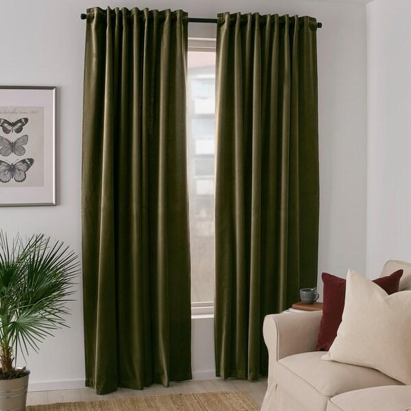 SANELA Room darkening curtains, 1 pair, olive-green, 140x300 cm