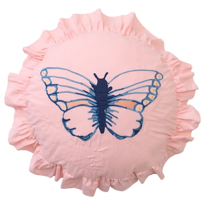 SÅNGLÄRKA Cushion, butterfly patterned
