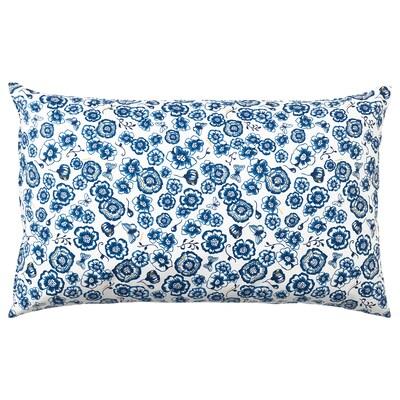 SÅNGLÄRKA وسادة, زهرة/أزرق أبيض, 65x40 سم