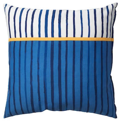 SÅNGLÄRKA Cushion, stripe/blue orange, 50x50 cm