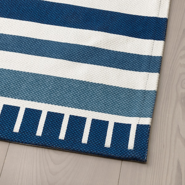 SÅNGLÄRKA Rug, flatwoven, dark blue, 80x160 cm