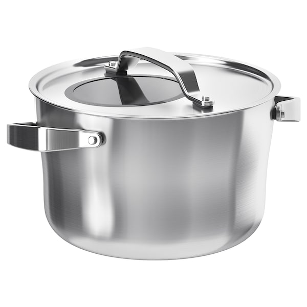 SENSUELL Pot with lid, stainless steel/grey, 5.5 l