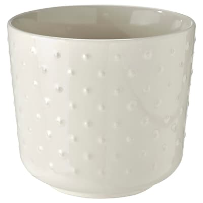 SESAMFRÖN Plant pot, in/outdoor off-white, 12 cm