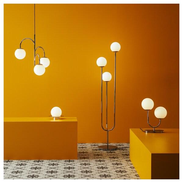 SIMRISHAMN Table/wall lamp, chrome-plated/opal white glass, 16 cm
