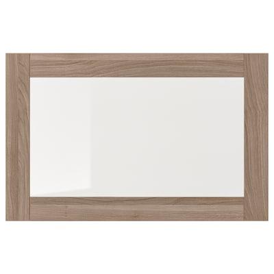 SINDVIK باب زجاج, مظهر الجوز مصبوغ رمادي/زجاج شفاف, 60x38 سم