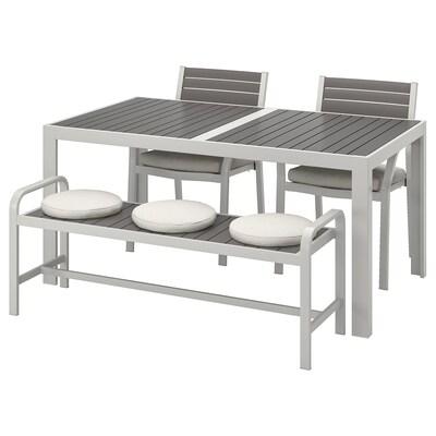 SJÄLLAND طاولة+2كراسي+مصطبة، خارجية, رمادي غامق/Frösön/Duvholmen بيج, 156x90 سم