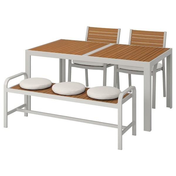 SJÄLLAND طاولة+2كراسي+مصطبة، خارجية, بني فاتح/Frösön/Duvholmen بيج, 156x90 سم