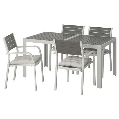 SJÄLLAND table+4 chairs w armrests, outdoor dark grey/Kuddarna grey 156 cm 90 cm 73 cm