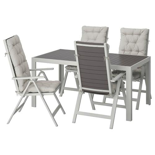 SJÄLLAND table+4 reclining chairs, outdoor dark grey/Kuddarna grey 156 cm 90 cm 73 cm