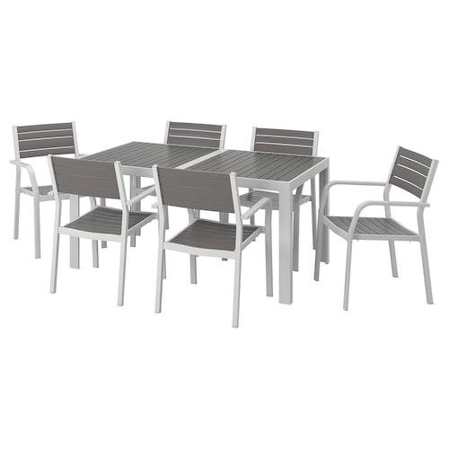 SJÄLLAND table+6 chairs w armrests, outdoor dark grey/light grey 156 cm 90 cm 73 cm