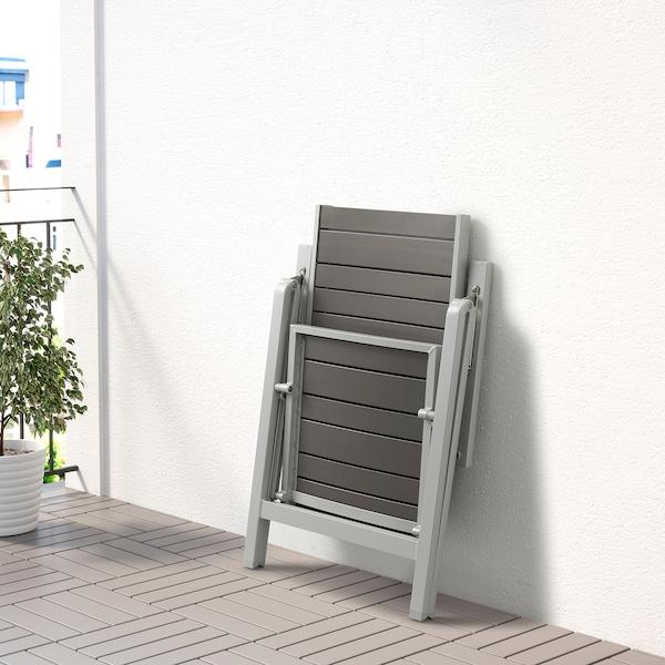 SJÄLLAND Table+6 reclining chairs, outdoor, dark grey/Kuddarna beige, 156x90 cm
