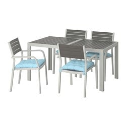 SJÄLLAND table+4 chairs w armrests, outdoor, dark grey, Kuddarna blue light blue