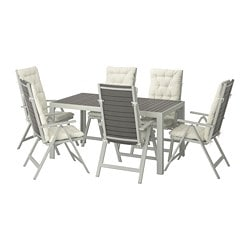 SJÄLLAND table+6 reclining chairs, outdoor, dark grey, Kuddarna beige