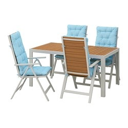 SJÄLLAND table+4 reclining chairs, outdoor, light brown, Kuddarna light blue