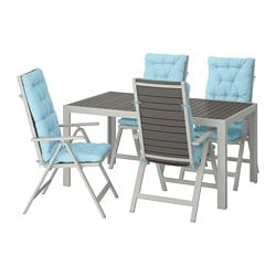 SJÄLLAND table+4 reclining chairs, outdoor, dark grey, Kuddarna light blue