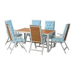 SJÄLLAND table+6 reclining chairs, outdoor, light brown, Kuddarna light blue