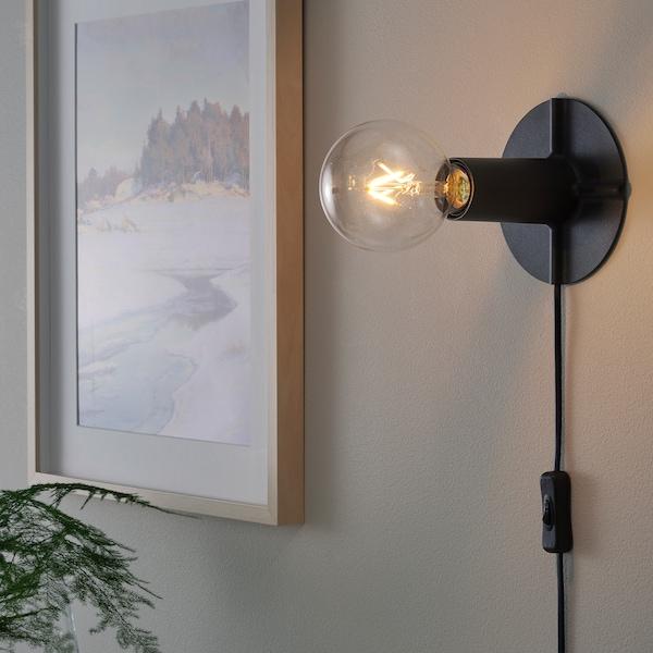 SKALLRAN Table lamp base, dark grey/metal