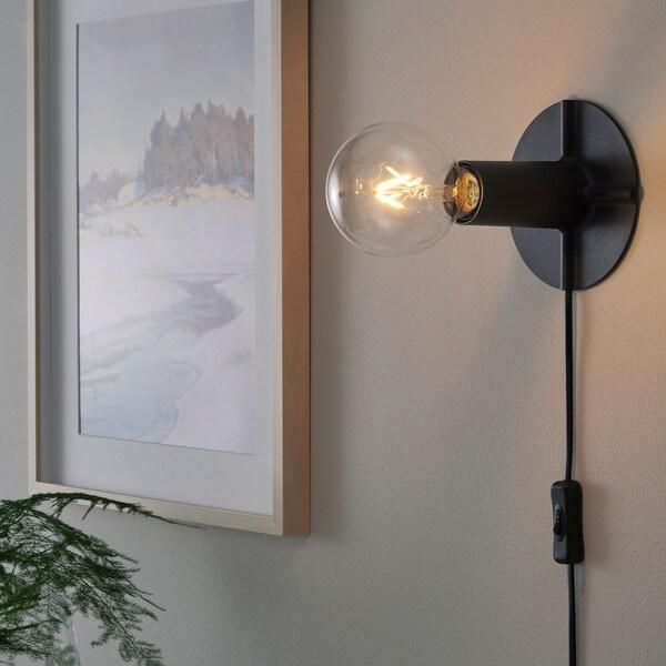 SKALLRAN قاعدة مصباح طاولة, رمادي غامق/معدني