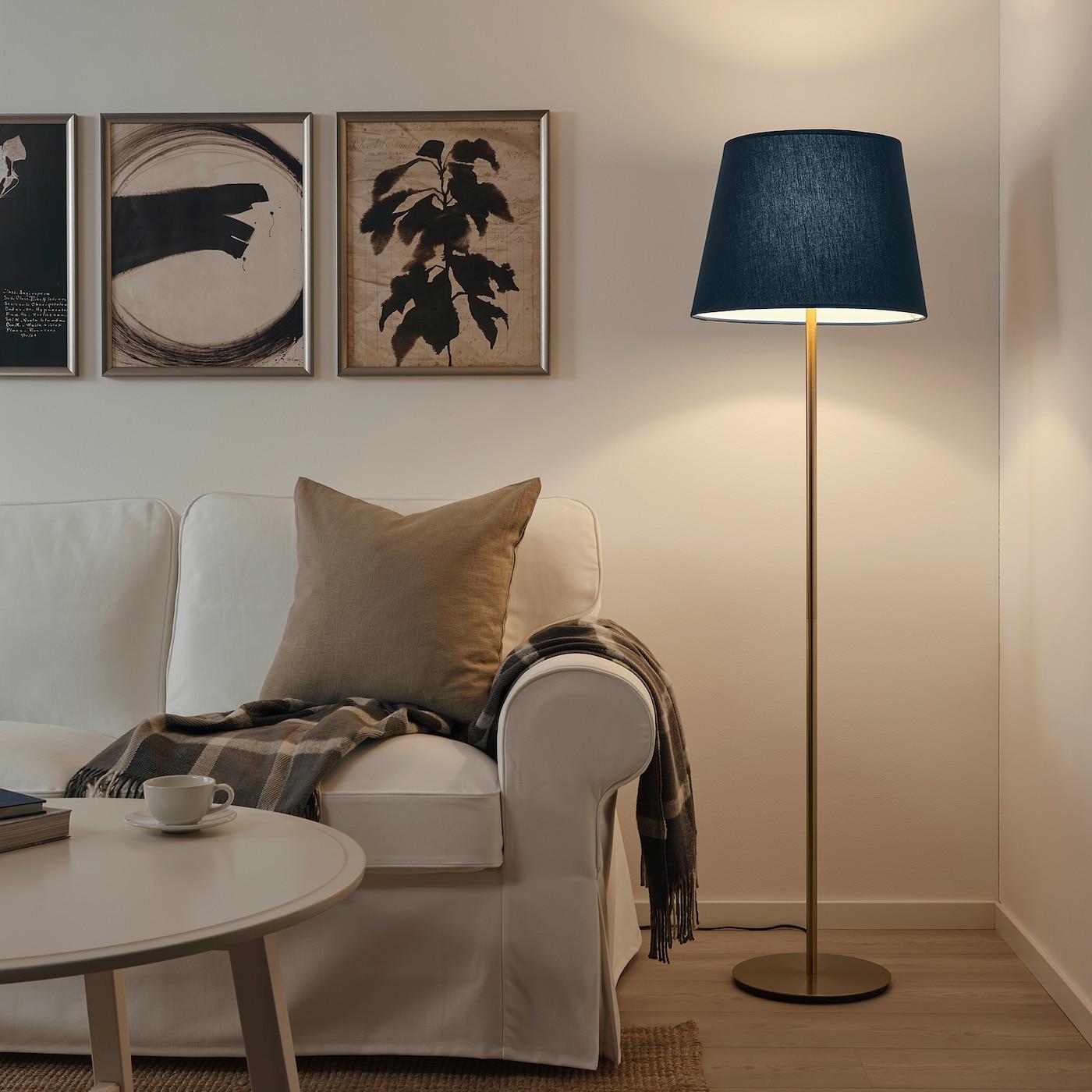 SKOTTORP Lamp shade, dark blue, 42 cm
