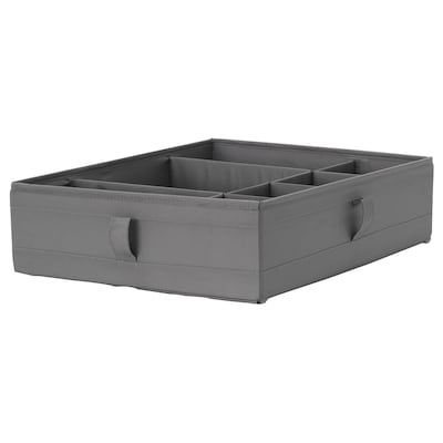 SKUBB Box with compartments, dark grey, 44x34x11 cm
