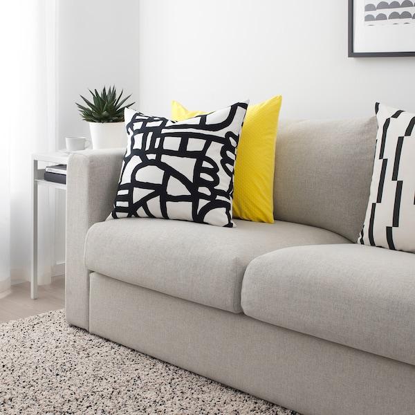 SKUGGBRÄCKA Fabric, white/black, 150 cm