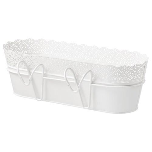 SKURAR flower box with holder in/outdoor/white 51 cm 19 cm 17 cm