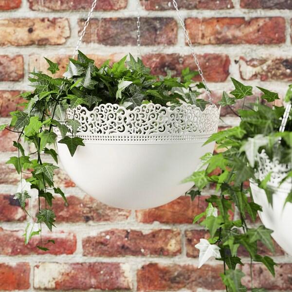 SKURAR hanging planter in/outdoor/white 18 cm 5 kg 30 cm