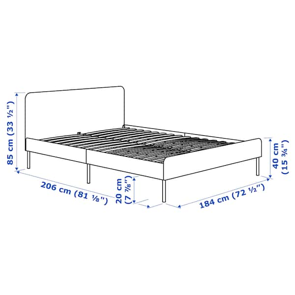 SLATTUM Upholstered bed frame, Knisa light grey, 180x200 cm