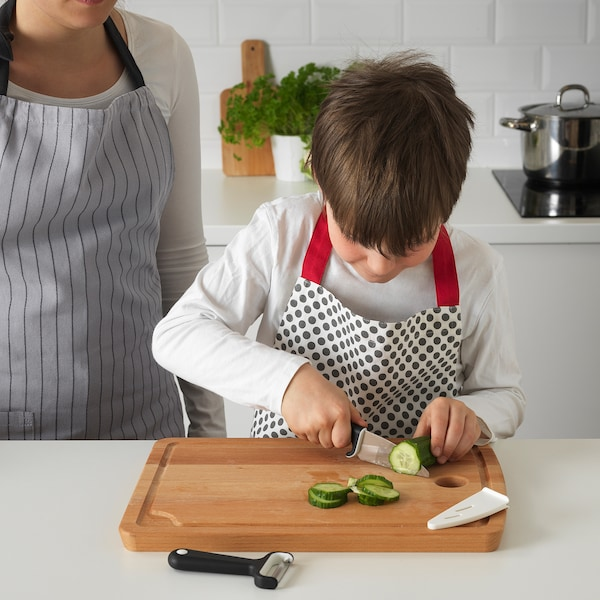 SMÅBIT سكين وقشّارة, أسود/أبيض