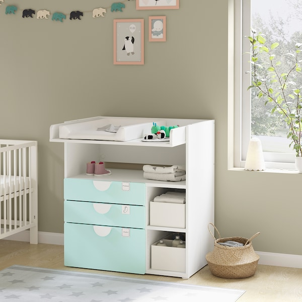 SMÅSTAD Changing table, white pale turquoise/with 3 drawers, 90x79x100 cm